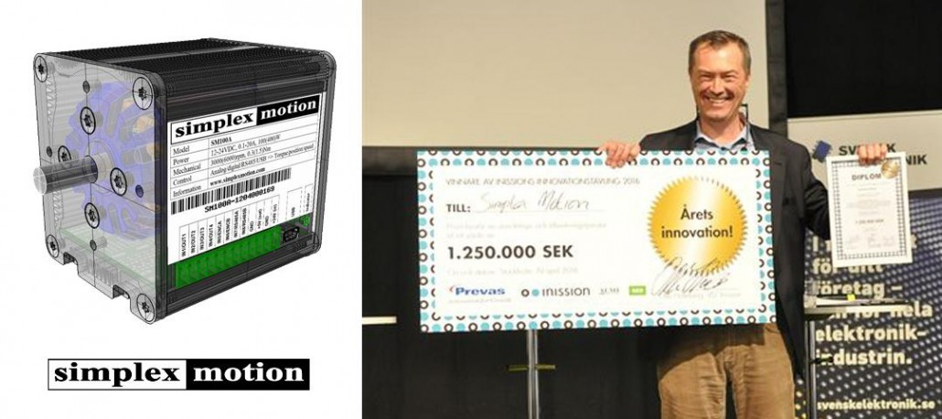 picture of a innovation award ceremony for simplex motion and the product